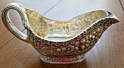 Tiffany Sterling Silver ENGLISH KING Large Gravy Sauce Boat Floral Repousse