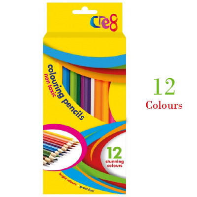 12 x LARGE COLOURING COLORING PENCIL PACK FOR SCHOOL CLASS CHILDREN/KIDS ART