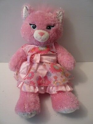 """Build a Bear Silvery Pink Plush 18"""" Princess Cat with Silky Dress Blue eyes"""