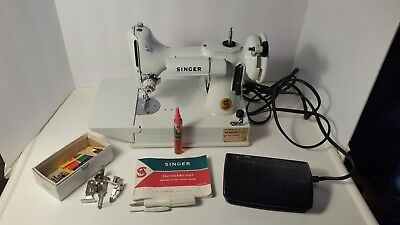 Used 221K White Featherweight Singer Sewing Machine With Case