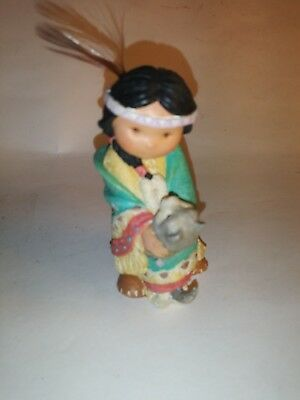 """Friends of the Feather """"Dances with With Wolf"""" Boy w/ wolf figurine 1994 Enesco"""