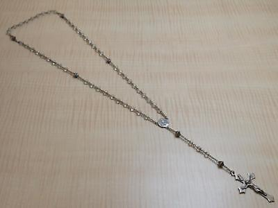 Vintage Sterling Silver Religious Rosary Prayer Beads Clear Crystal