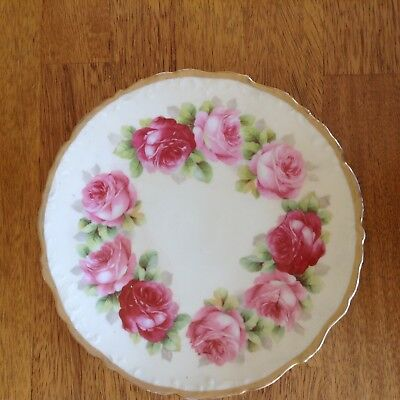 Antique Old Ivory plate with roses Germany