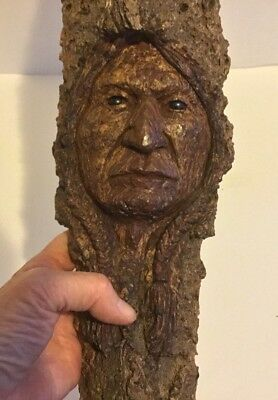 Hand Carved Folk Art Carving Of Noble Native American Indian Man