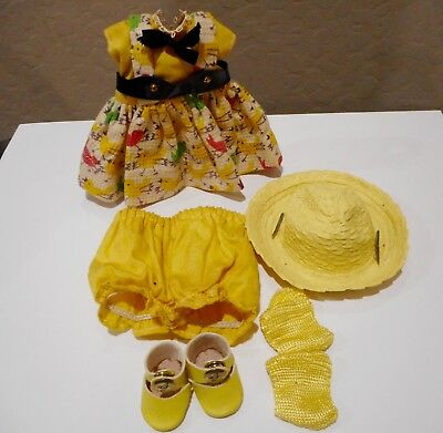 "1950's GINNY VOGUE 7-1/2"" DOLL OUTFIT - YELLOW"