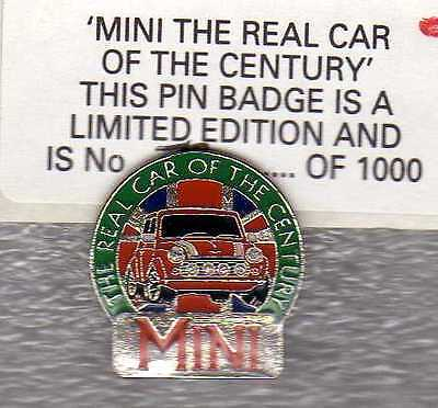 Classic Mini `real Car Of The Century` Pin Badge Red Cooper Limited Edition Rare