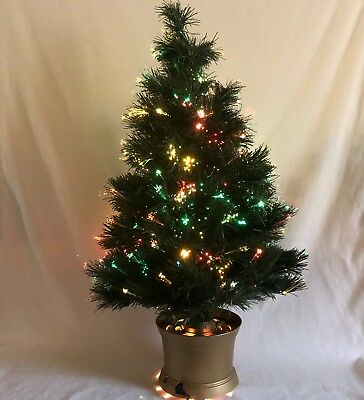 Rotating Fiber Optic Tabletop Christmas Tree Color Changing Gold Base 33 in - ROTATING FIBER OPTIC Tabletop Christmas Tree Color Changing Gold