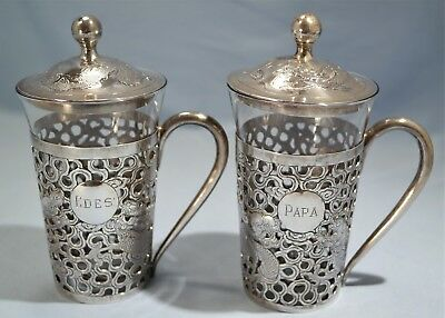 Hong Kong Chinese Sterling Silver Reticulated Pair of Tea Glass Holders Tackhing