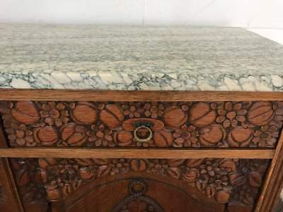 Exquisite Antique Hand Carved 19th Century Sideboard/Buffet w/unique Marble Top