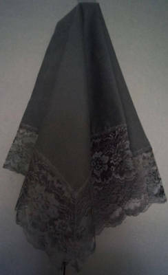 Handmade Black Lap Scarf with Black Lace