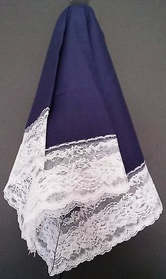 Handmade Navy Blue Lap Scarf with White Lace