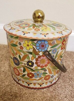 Vintage Daher metal Tin floral design with lid and handle made in England
