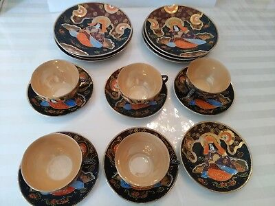 Hand Painted Moriage Satsuma Dragon Teapot Tea Set Dinner Plate Japanese Takito