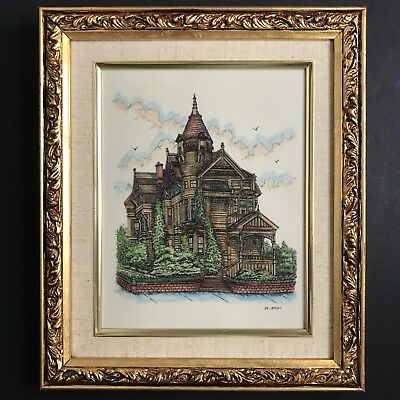 Gil McCue Etching on Resin Gesso Framed Victorian House Architecture Art Decor