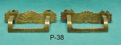 P-38  Antique Eastlake  Pulls, Two Cast Brass. Great Original Pieces