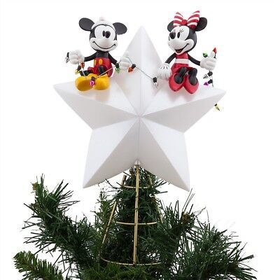 Disney Mickey and Minnie Mouse Lighted Christmas Holiday Tree Topper - NEW