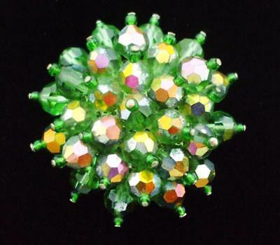 Pretty Vintage Green Ab Glass Crystal Cluster Bead Pin Brooch
