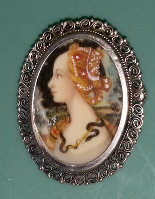 ANTIQUE 800 Silver Hand Painted Lady with SNAKE PORTRAIT PIN BROOCH PENDANT
