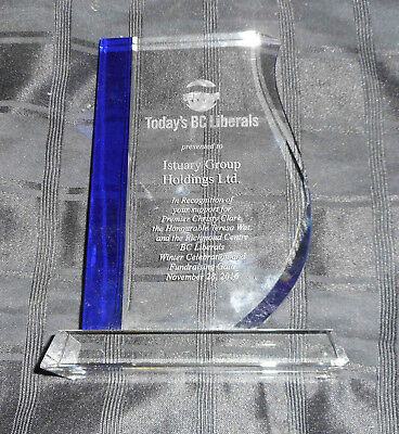 * BC Liberal Political Party Canada Glass award or gift Christy Clark
