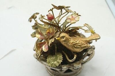 Antique Hubley? # 7412 Flower Butterfly  Sparrow Basket Old