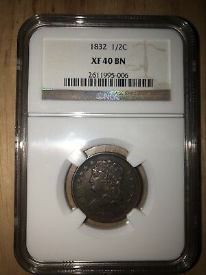 1832 Classic Head Half Cent - Ngc Certified Xf 40 Bn