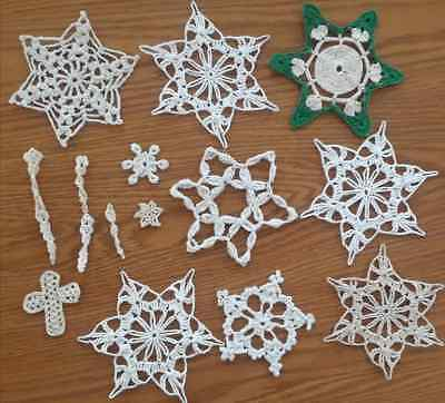 Lot of 15 Assorted Vintage Crocheted Christmas Tree Ornament Snowflakes Icicles