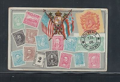 Hawaii Vintage Private Postal  Mailing Card Showing Stamps