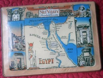 Vintage 1950S 1960's Genuine Leather Writing Case Souvenir Egypt Nile Valley