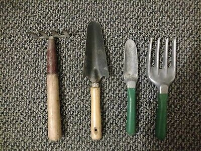 Lot of 4-RUSTIC GARDEN TOOLS Art Decor Wall Old Americana Vintage Yard Tools