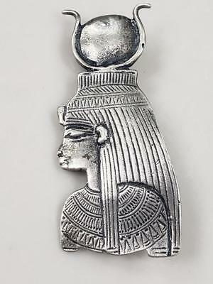 "Antique Vintage Sterling Silver Egyptian Revival  Brooche Pin   2.5"" T  (15.7 g)"