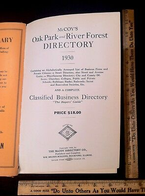 Vintage 1930 Oak Park River Forest Illinois Telephone Directory Phone Book RARE