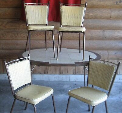 Vintage Mid Century Formica Atomic Kitchen Table 4 Chairs Louisville Chair Co