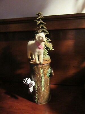 Antique Tree Trunk Candy Container  w Putz Sheep & Dresden Paper Tree Pine Cone