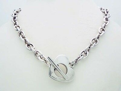 """Vintage!!! THISTLE AND BEE Italy 18"""" Heart Toggle Necklace in Sterling Silver"""