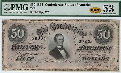 T-66 PF-5 $50 1864 Confederate Paper Money- PMG About Uncirculated 53 - CHOICE!