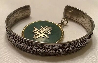 Antique Chinese Sterling Silver Filigree Export Cuff Bracelet Jade Pendant Lot