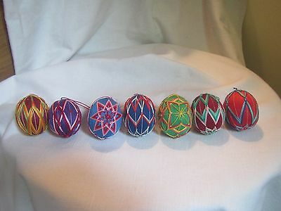 Rare Vintage Lot Of 7 Intricate Woven Thread String Art Egg Shaped Ornaments