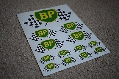 BP Classic Shield Flag Racing Car Petrol Gas Fuel Garage Pump Decals Stickers