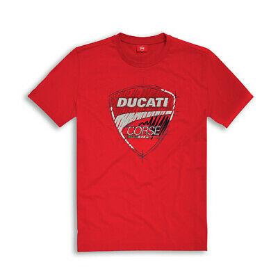 NEW Motorcycle Ducati Genuine Corse Sketch Red T-Shirt - D987695022_8
