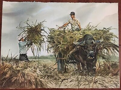 Chinese Modern Watercolor Painting Farm Harvest Scene by Taiwanese Artist 陳東元