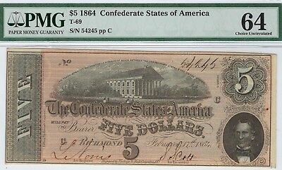 T-69 PF-10 $5 1864 Confederate Paper Money - PMG Choice Uncirculated 64!