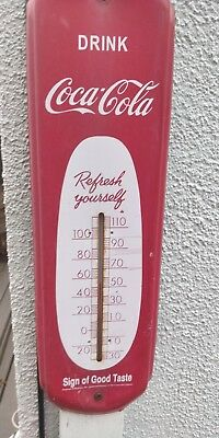 Vintage Coca Cola Thermometer original faded rusted still works GREAT LOOK TO IT