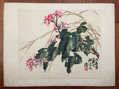 Antique Chinese Water Color Painting Scroll Album Page Flower Branch by 孫文斌(斌園)