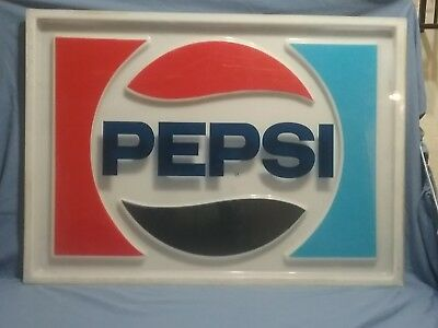 "Vintage Large PEPSI Logo Sign 31"" X 23"""