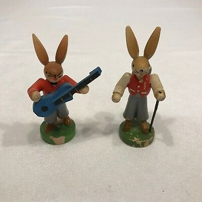 Vintage GDR Erzgebirge Hiker Bunny and Guitar Playing Bunny Rabbit Lot