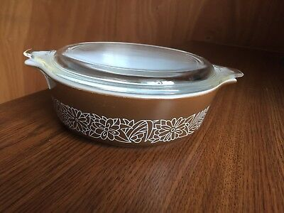 Vintage Pyrex Woodland Brown Small Covered Casserole Dish Lid #471-B 500ml