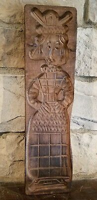 Vintage Dutch Primitive Hand Carved Cookie Mold Speculaas Springerle Wood Plank