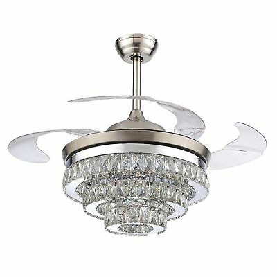 Rs Lighting European Crystal Ceiling Fan 42 With Four Retractable