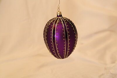 Beautiful Large Egg Shaped Purple Glass Ornament with Gold Trim