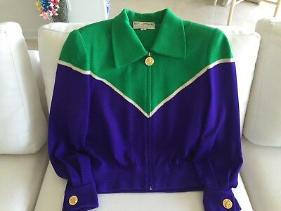Vintage St. John Collection by Marie Gray Green & Purple Zip Front Bomber Jacket